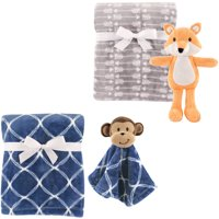 Hudson Baby Boys' Plush Blanket (2-Pack) with Plush Toy and Security Blanket, Choose Your Color