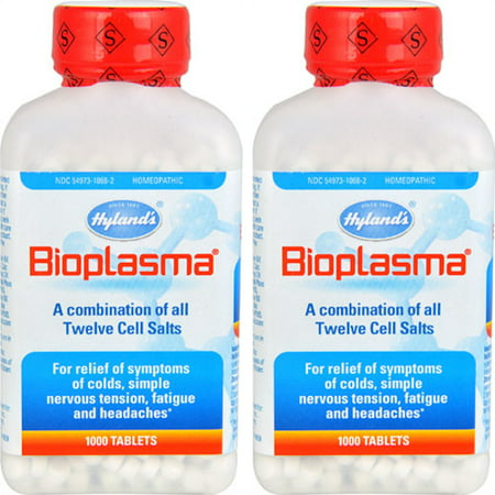 2 Pack Hylands Bioplasma Combination of 12 Mineral Cell Salts - 2000 Tablets