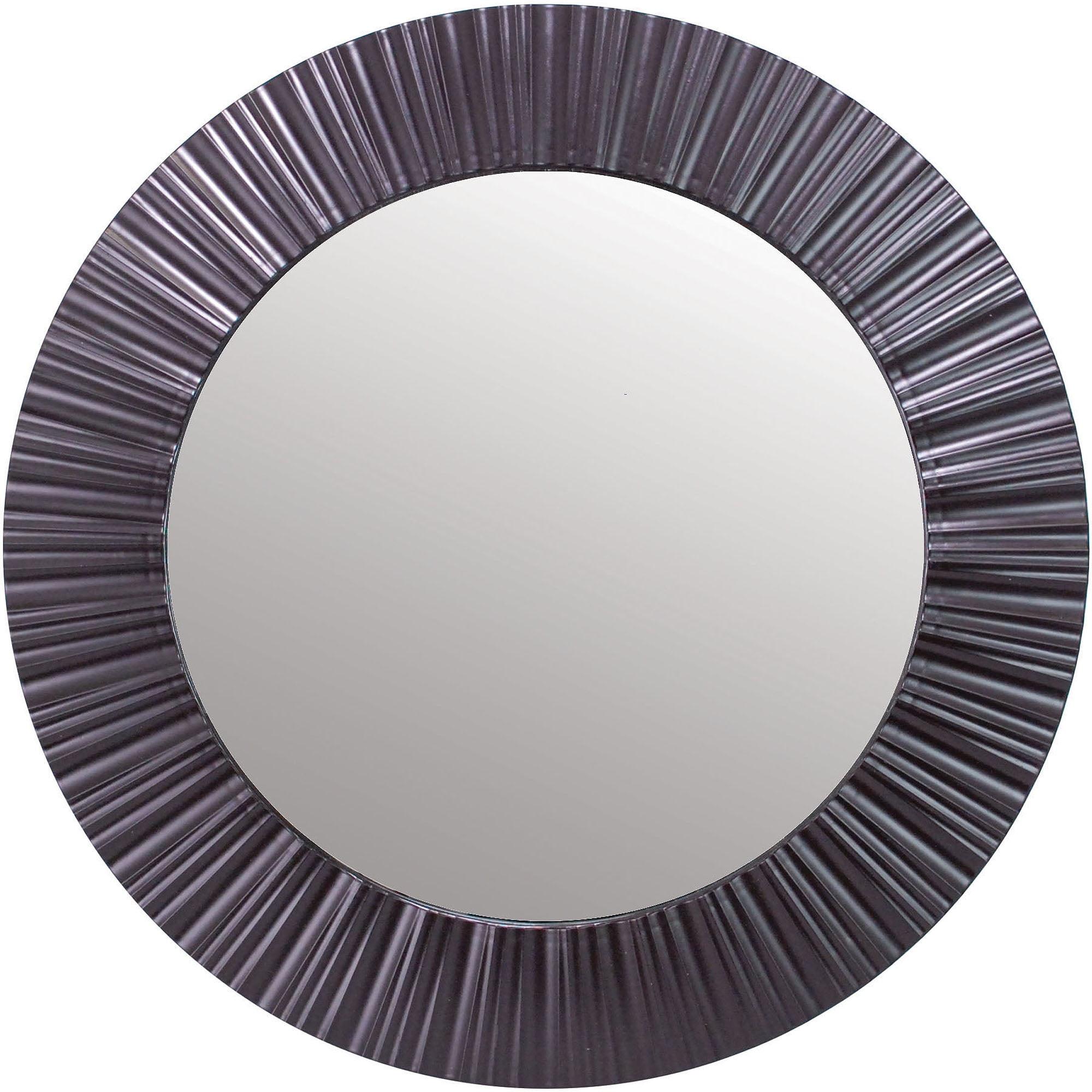 """Brown Wall Mirror kiera grace groove 20"""" round mirror, dark brown - walmart"""
