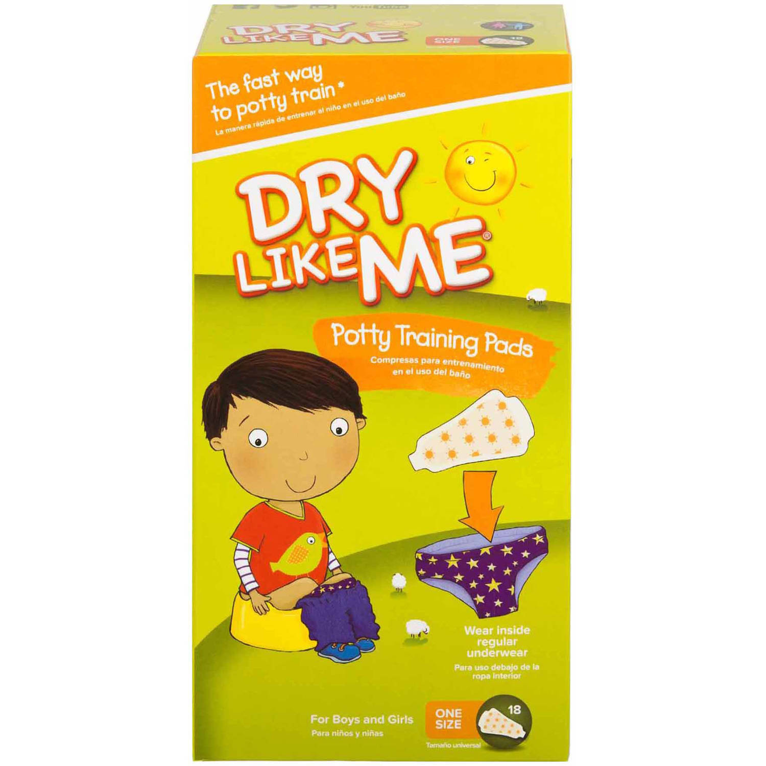 Dry Like Me One Size Potty Training Pads, 72 Count