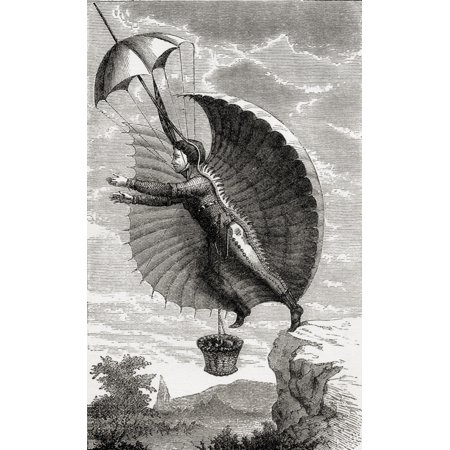 The Flying Man Engraving After Retif De La Bretonne From The Book Wondeful Balloon Ascents Or The Conquest Of The Skies Published C 1870 - Engraved Balloons