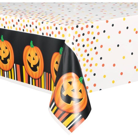 Smiling Pumpkin Halloween Plastic Tablecloth, 84 x 54 in, 1ct](Table Setting For Halloween)