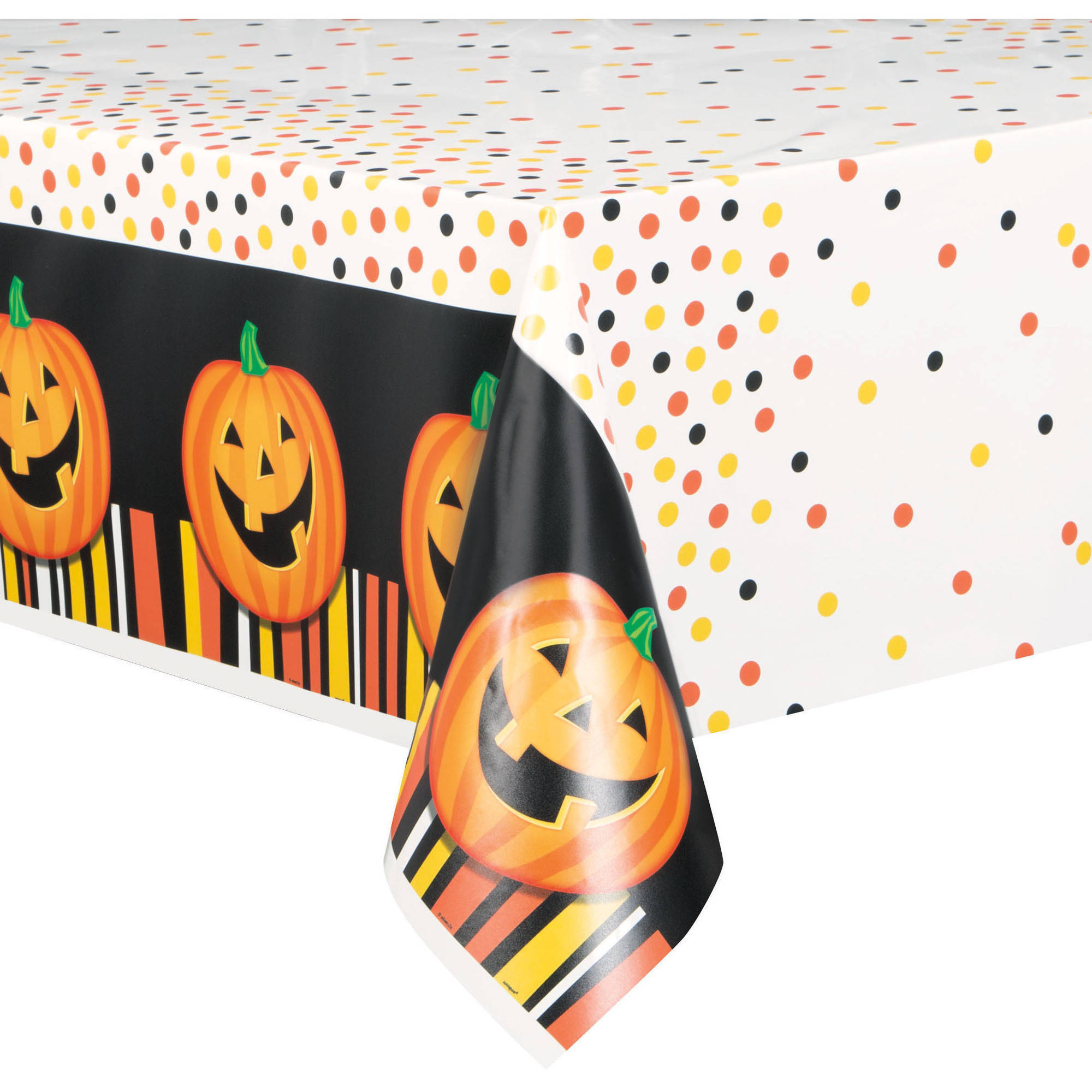 Smiling Pumpkin Halloween Plastic Tablecloth, 84 x 54 in, 1ct