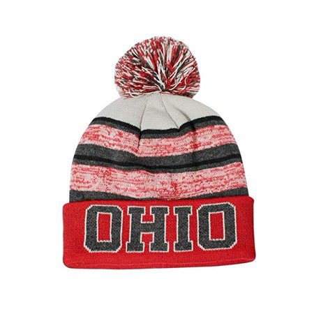 Ohio Men's Blended Stripe Winter Knit Pom Beanie Hat (Red/White) (Ohio State Knit Hat)