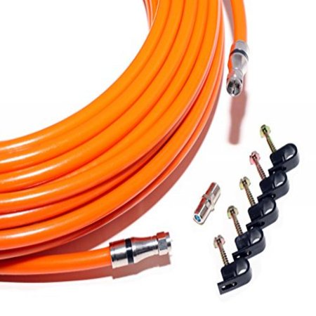 - 250 FT RG11 CABLE with F Connectors on each end - Orange Tri-Shield Underground Coaxial DIRECT BURIAL Gel Coated Flooded COAX Indoor / Outdoor - plus extra barrel & 5 screw clips / by CableProof