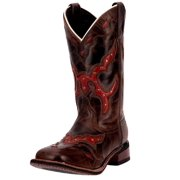 "Laredo Western Boots Womens 11"" Underlay Collar Tip Brown Red 5675"