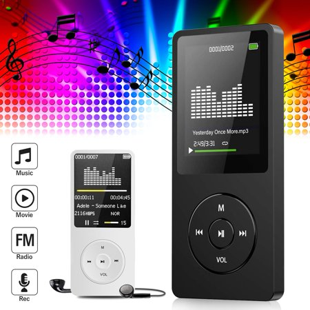 Digital 16GB MP3 Player MP4 Player, 64GB Supported Video/Media/Music Player - 40 Hours Playback MP3 Lossless Sound Player w/ Mini USB Port, 1.8 LCD Screen & Earphone, Black/White