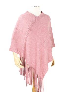 StylesILove Women Trendy Brushed Soft Knit Poncho with Fringe Trim Chic Shawl (Pink)