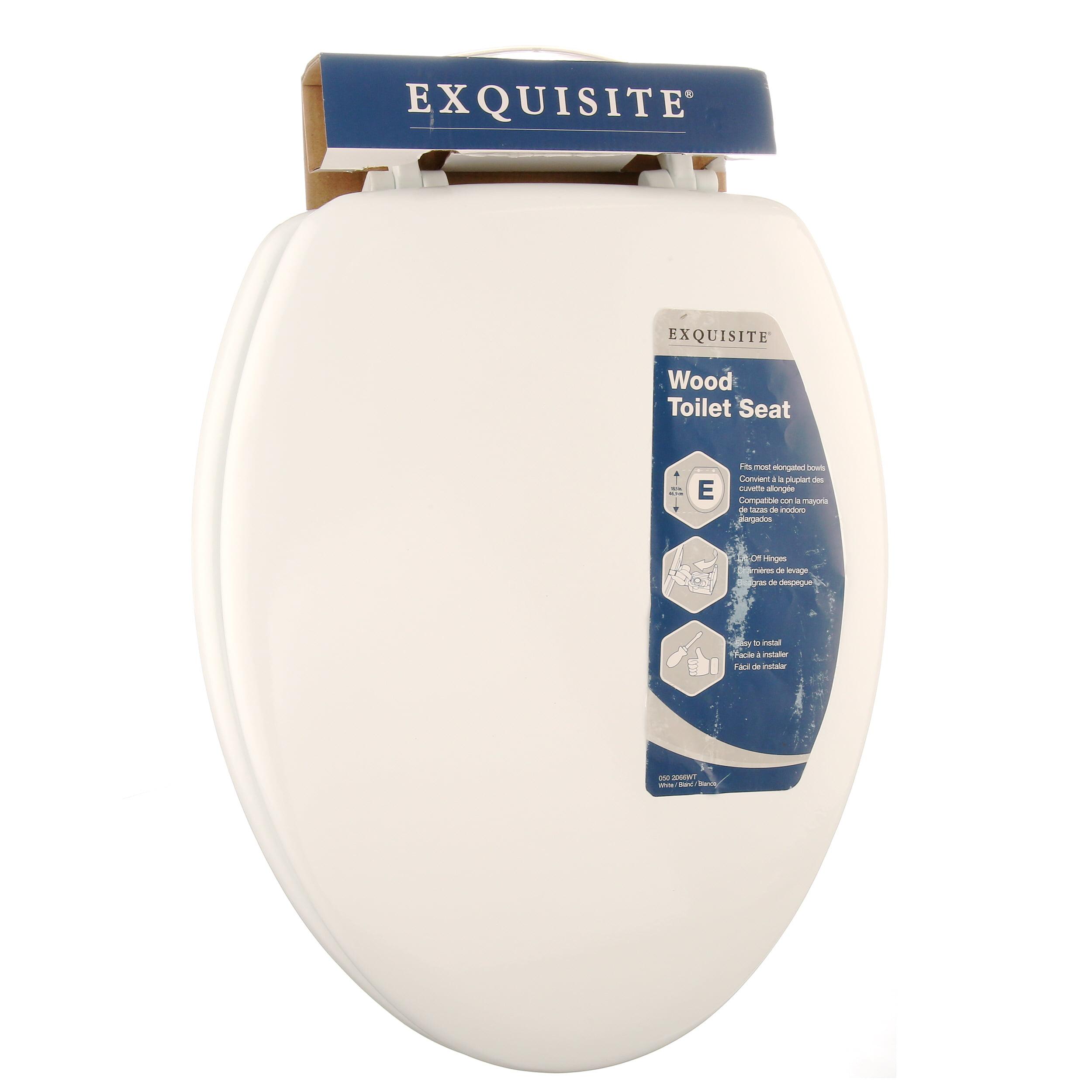 f31ac71c4e9 Exquisite Elongated Wood Toilet Seat, White