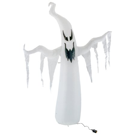 Halloween Haunters 7 Foot Inflatable Spooky White Ghost with LED Lights Indoor Outdoor Yard Lawn Prop Decoration - Inflatable Halloween Props
