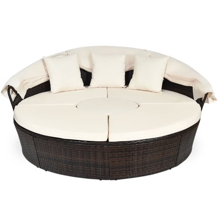 Gymax Cushioned Patio Rattan Round Daybed w/ Adjustable Table 3 Pillows Canopy - image 5 of 10