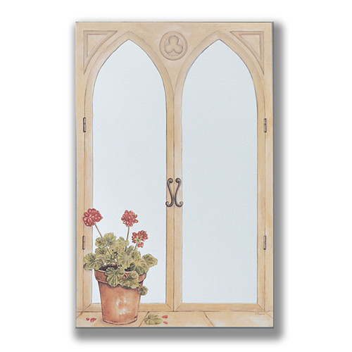 Stupell Industries Geraniums Faux Window Mirror Scene Painting Print