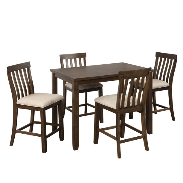 5 Piece Counter Height Dining Set Dining Room Table Sets Of 4 Sturdy Wood Dining Table