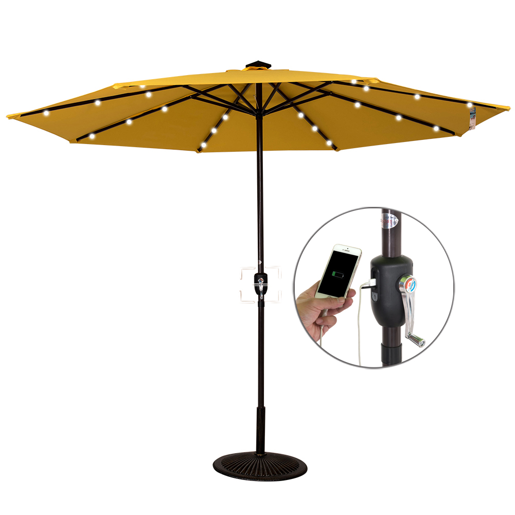 Sundale Outdoor Solar Powered 24 LED Lighted Outdoor Patio Umbrella with Crank, 10Feet, Recharge for Phone