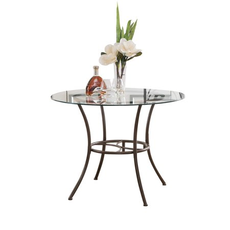 Copper Metal Glass Round Kitchen Dinette Dining Table