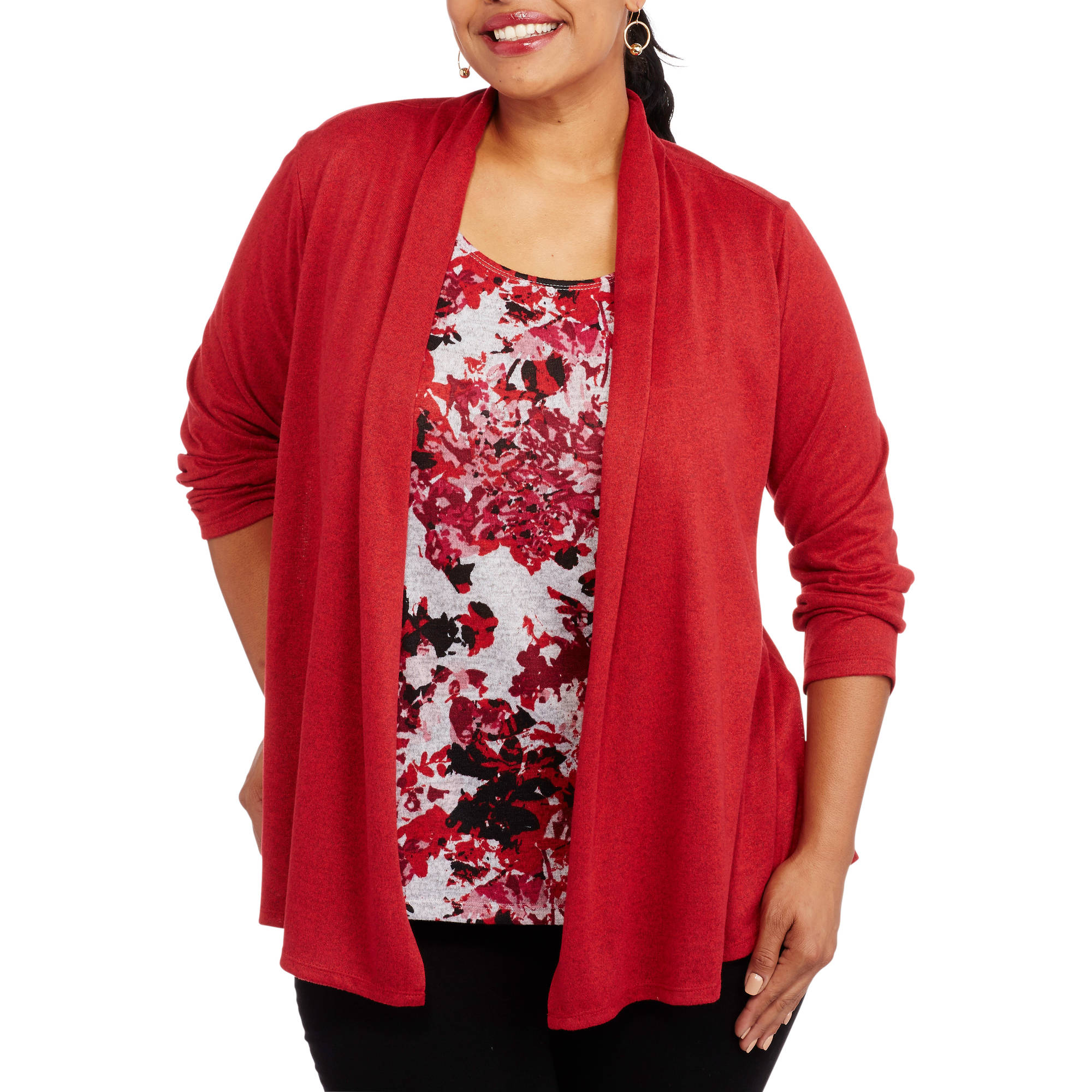 White Stag Plus-Size  Long Sleeve Hatchi 2-fer Top