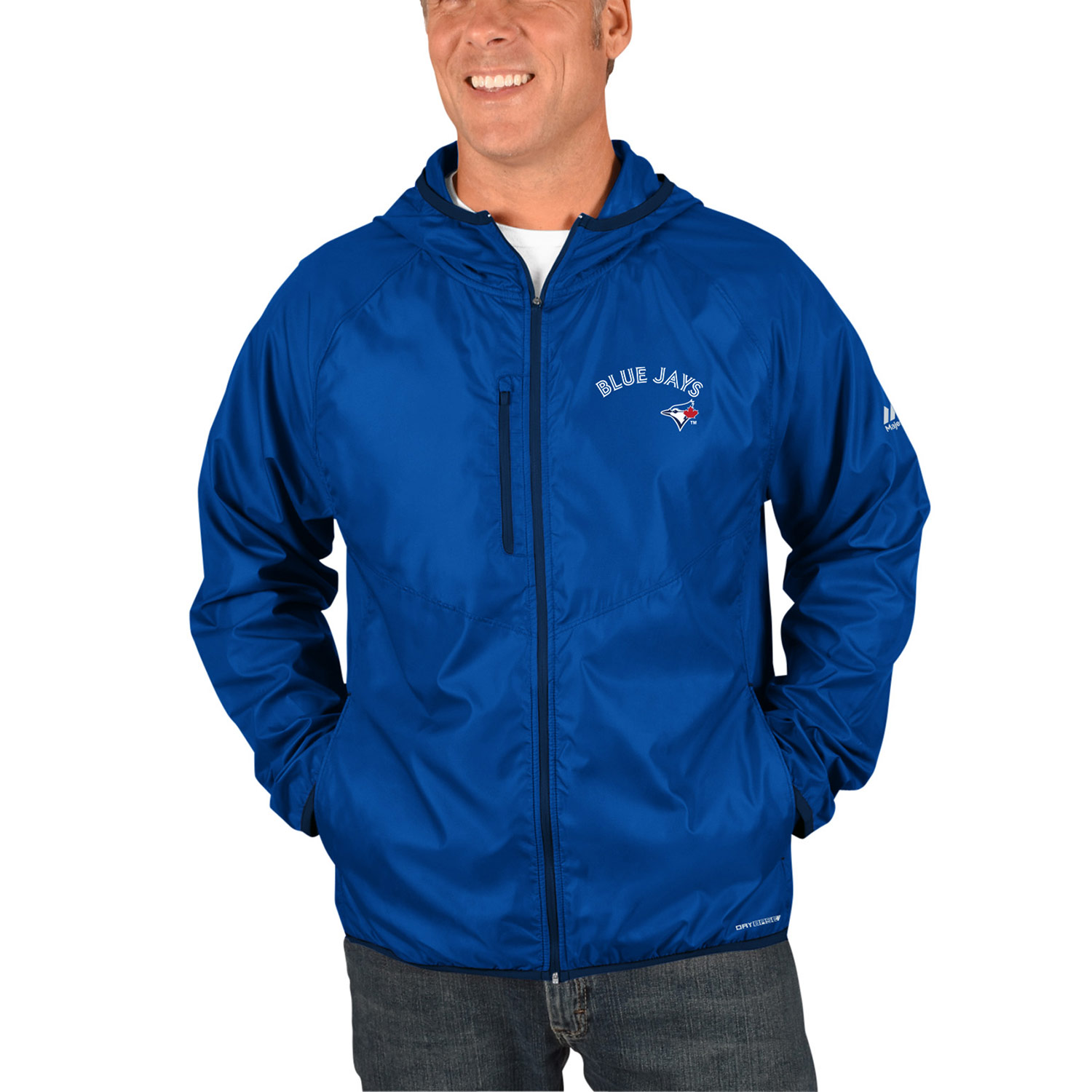 Toronto Blue Jays Majestic Strong Will Dry Base Full-Zip Hooded Jacket Royal by MAJESTIC LSG