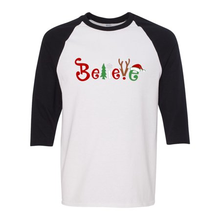 Christmas Shirt Believe Santa Claus Reindeer 3/4 Raglan Sleeve Mens T-Shirt - Santa Claus Skirt