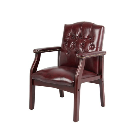 Boss Office Products Burgundy Traditional Guest Reception Waiting Room Chair (Vinyl Swivel Guest Chair)