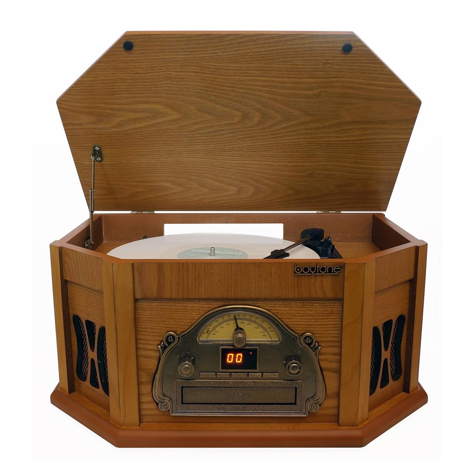 Boytone 3-Speed Stereo Turntable with AM-FM Radio, Wood by Boytone