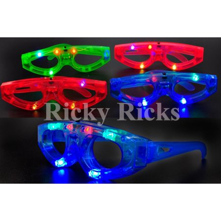 12 Light-Up Glasses Kids Sunglasses LED Shades Flashing Blinking Rave Glow Party](Led Glow Rings)