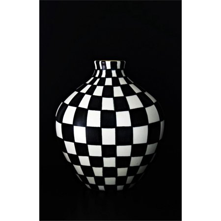 Canvas Print Vase Abstract Art Black and White Hand Painting Stretched Canvas 10 x 14 (Vase Paintings)