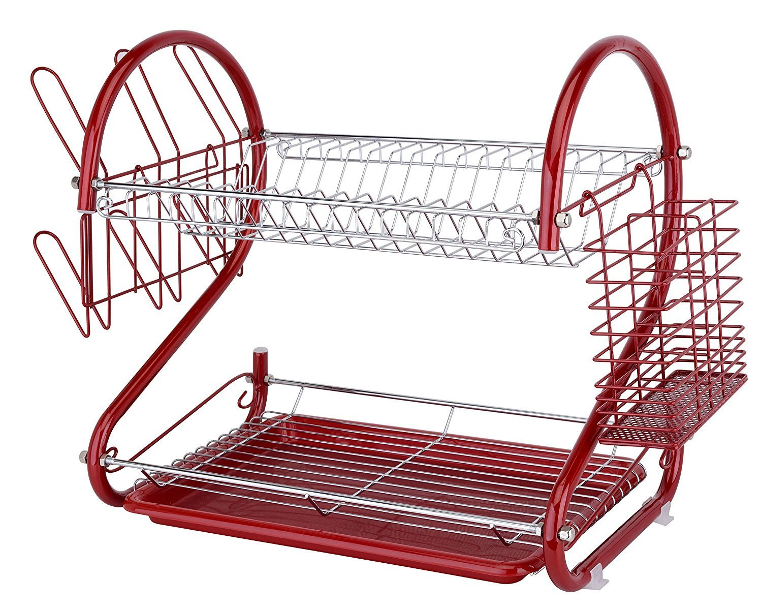Europe Ware K10766, Iron Red Dish Rack with Plastic Draining Tray and Cutlery Drying... by Europe Ware