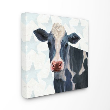Cow Decor - The Stupell Home Decor Collection Patriotic Farm Cow Painting with Blue Stars Stretched Canvas Wall Art, 17 x 1.5 x 17