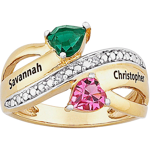 Personalized Birthstone and Diamond Accent 14kt Gold over Brass Couple's Hearts Ring