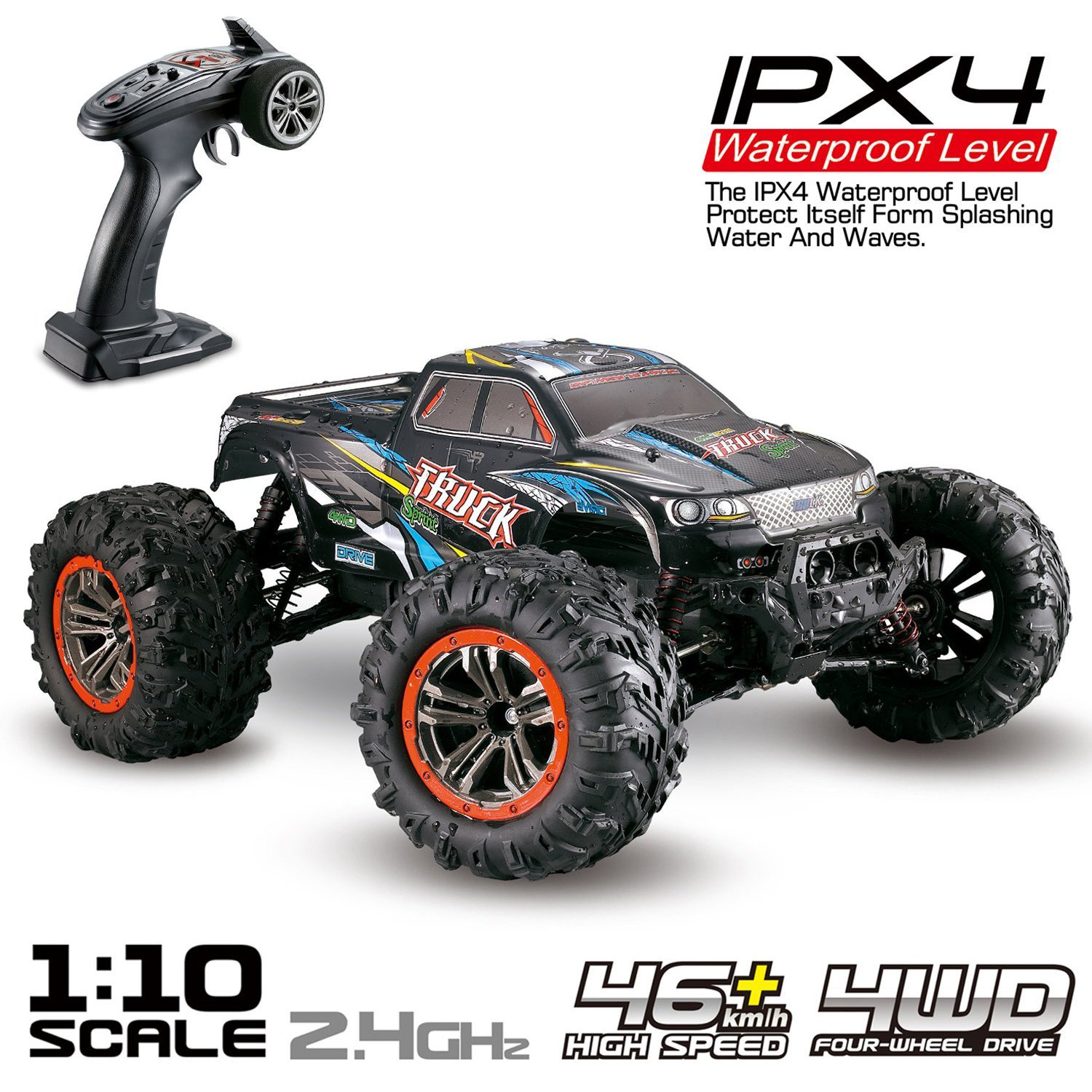 Hosim Large 1:10 Scale High Speed 46km h 4WD 2.4Ghz Remote Control Truck 9125, Radio Controlled Off-Road RC... by
