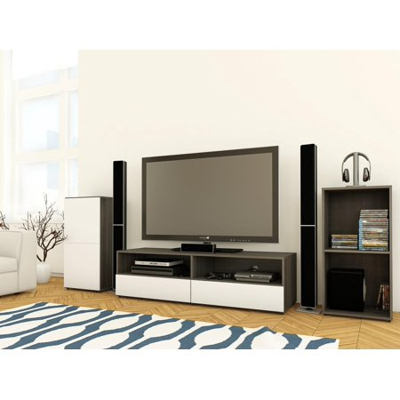 "Allure Entertainment Kit with 60"" TV Stand with 2 Open Shelves, Open Storage Unit, & 1-Door Storage Unit"