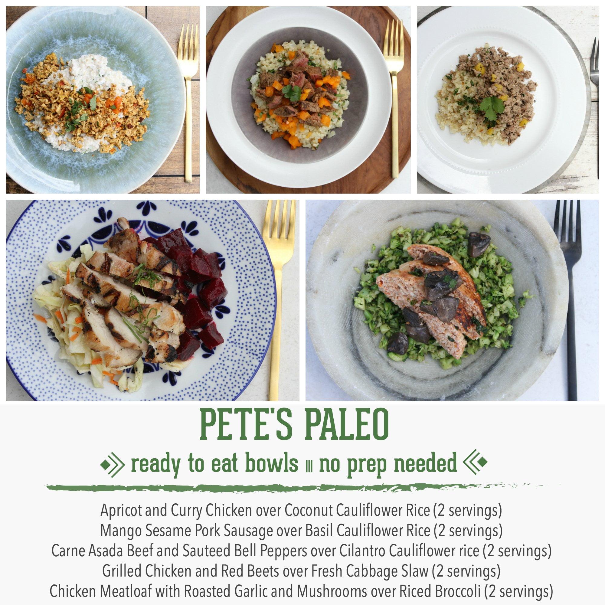 Pete's Paleo No Prep Organic Bowls, Bundle of 10 (2 Servings of Each Bowl)