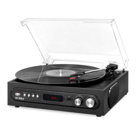 Victrola All-in-1 Bluetooth Record Player with Built in Speakers and 3-Speed Turntable Black (VTA-65-BLK) (Certified