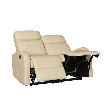 ProLounger Modular Recliner Loveseat in Distressed Faux Leather, Latte Tan