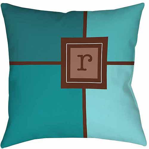 MWW, Inc. Thumbprintz Grid Monogram Teal Decorative Pillows