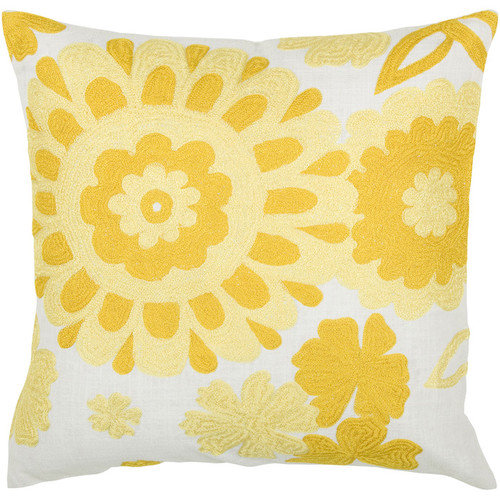 Rizzy Home Embroidered Bold Knit Look Floral Decorative Cotton/Satin Toss Pillow