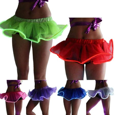 Women Light Up Sparkly Tutu Dancing El Wire Accessory Clothing Running Skirts One Size Sparkle Skirt Set