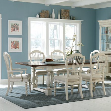 Hillsdale Pine Island 7 Piece Trestle Dining Table Set With Wheat Back Chairs