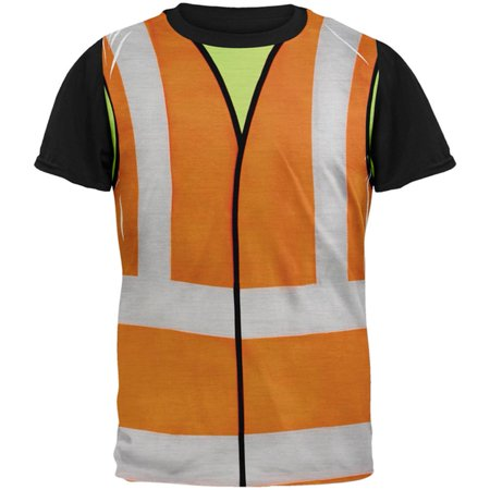 Construction Worker Halloween (Halloween Road Worker Construction Vest Costume All Over Mens Black Back T)