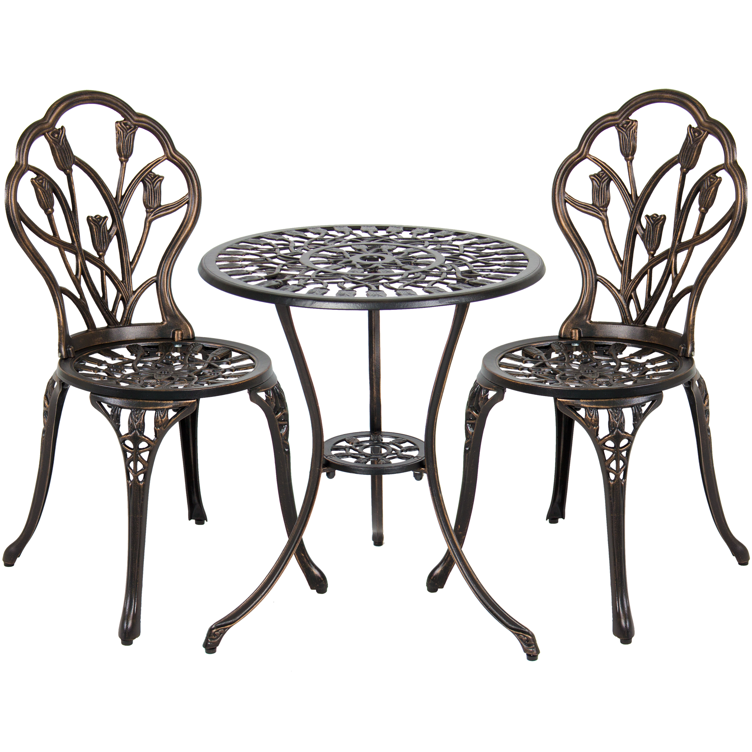 Best Choice Products Cast Aluminum Patio Bistro Furniture Set In Antique  Copper   Walmart.com