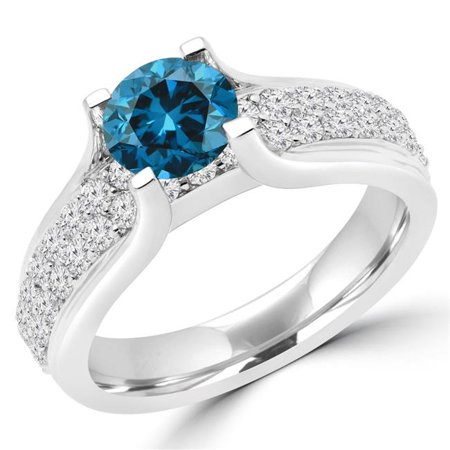 Majesty Diamonds MD180131-8.25 1.8 CTW Round Blue Diamond Solitaire with Accents Engagement Ring in 14K White Gold - Size 8.25 - image 1 of 1