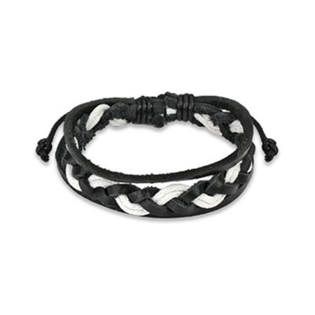 Black & White Leather Bracelet With Double Strings Weaved Center Right Angle Weave Bracelets