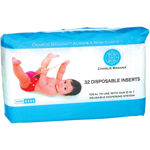 Charlie Banana Disposable Diaper Inserts, 32 count