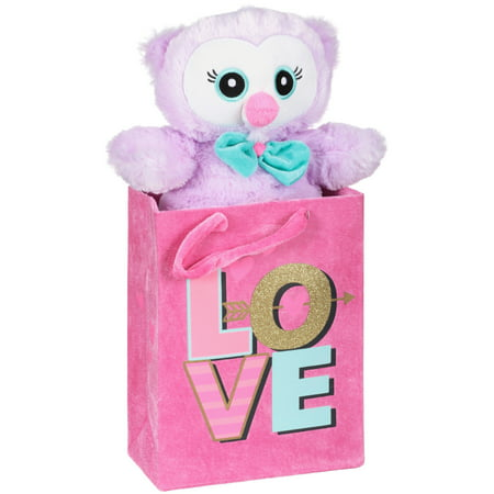 Valentine's day stuffed owl with fabric gift bag ()