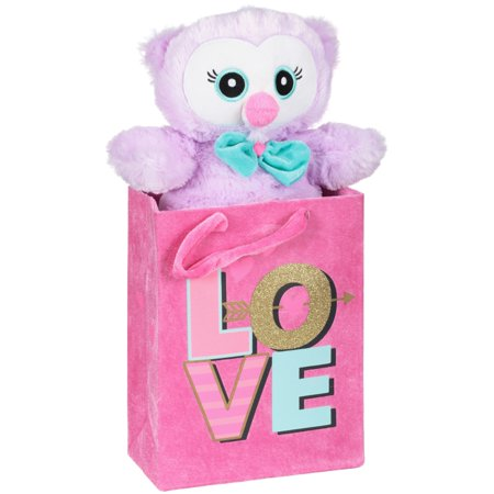 Valentine's day stuffed owl with fabric gift (Valentine's Day Gift Bags)