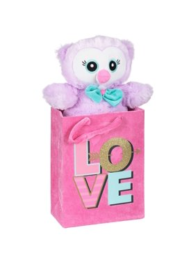 Valentine's day stuffed owl with fabric gift bag