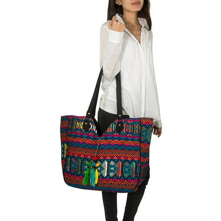 (Women Large Shoulder Tote Bag Woven Canvas Casual Handbag Shopping Red Blue Hippie Unique Style)