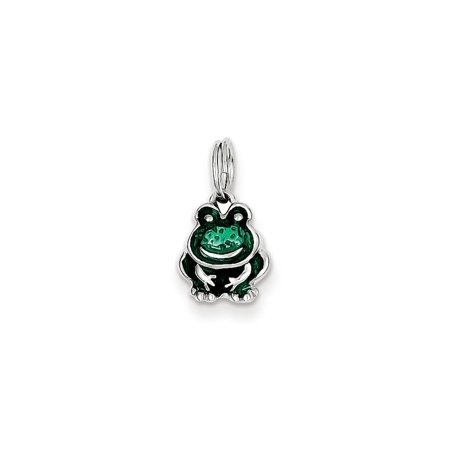 - 925 Sterling Silver Green Enamel Simple Frog Charm Pendant - 15mm