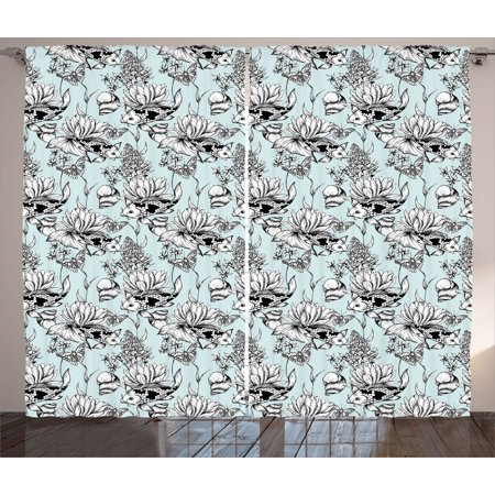 Shabby Chic Curtains 2 Panels Set, Vintage Monochrome Pond Water Flowers Lily Carp Snail Twigs Artwork , Window Drapes for Living Room Bedroom, 108W X 90L Inches, Baby Blue Black White, by Ambesonne