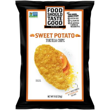 Food Should Taste Good  Tortilla Chips Gluten Free Non Gmo Sweet Potato 11 0 Oz Bag